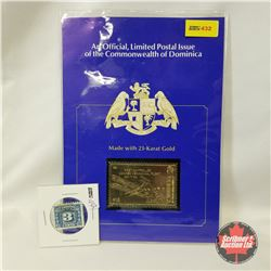 """Official Limited Postal Issue of the Commonwealth of Dominica - Made with 23-Karat Gold  """"First Cont"""