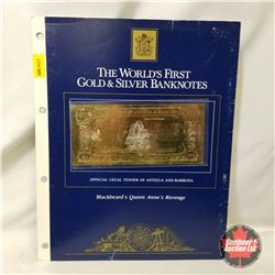 """The World's First Gold & Silver Banknotes 100 - Official Legal Tender of Antigua and Barbuda """"Blackb"""