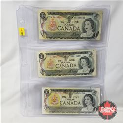 Canada 1973 $1 Bills - Sheet of 3