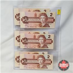 Canada 1986 $2 Bills - Sheet of 6