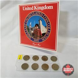 United Kingdom 1985 Brilliant Uncirculated Coin Collection + Strip of 8: Three Pence (1941; 1942; 19