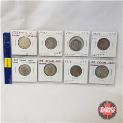 Canada Twenty Five Cent - Strip of 8: 1906; 1907; 1907; 1909; 1910; 1918; 1918; 1918; 1919