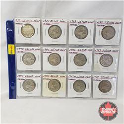 Canada Twenty Five Cent - Strip of 12: 1936; 1937; 1938; 1939; 1940; 1941; 1942; 1943; 1944; 1945; 1