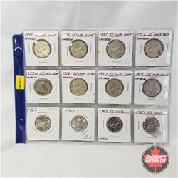 Canada Twenty Five Cent - Strip of 12: 1949; 1950; 1951; 1952; 1953; 1956; 1957; 1958; 1961; 1962; 1