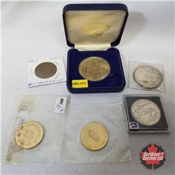 Variety Medals/Tokens/Coins (6): St. Christopher Wren; 1967 Confederation (3); Merry Christmas 1993;