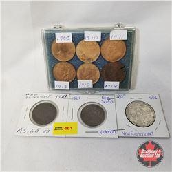 Maritime Coins - Strip of 3: 1861 New Brunswick; 1861 Nova Scotia; 1907 Newfoundland  +   Canada Lar