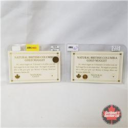Natural British Columbia Gold Nugget (2) + US Replica Gold Souvenir Coins (2)
