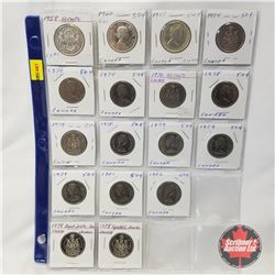 Canada Fifty Cent - Sheet of 17: 1958; 1960; 1965; 1974 (3); 1976; 1978 (5); 1979 (3); 1981; 1982