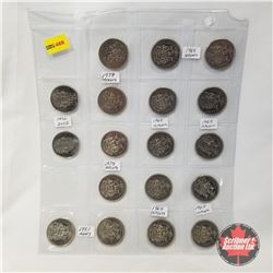 Canada Fifty Cent - Sheet of 18: 1968 (8); 1969 (2); 1974 (2); 1978 (2); 1982 (2); 1952-2002 (2)