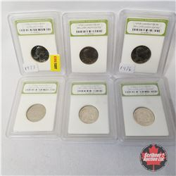 "US Twenty Five Cent (6) Graded/Encased International Numismatic Bureau : 1973S; 1976P (2); 2001D ""No"