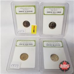 US Ten Cent (4) Graded/Encased International Numismatic Bureau : 1972S Roosevelt (2); 1977P Roosevel