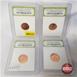 US One Cent 2009P Lincoln - Group of 4: Graded/Encased International Numismatic Bureau (Birth & Earl