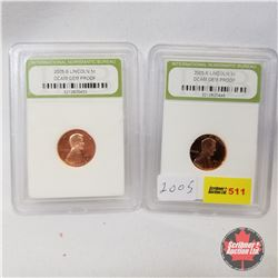 US One Cent 2005S Lincoln  - Group of 2: Graded/Encased International Numismatic Bureau