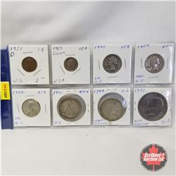 US Coins - Variety - Strip of 8: 1¢ 1931;  10¢ 1965;  25¢ 1941; 1950; 1962;  50¢ 1941; 1949;  1$ 197