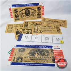 Silver Eagle Coins - Strip of 4  +  Confederate Currency Antiqued Reproductions (2 Envelopes)