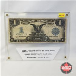 "1899 American Eagle $1 Bank Note Silver Certificate ""Blue Seal"" (Signatures: Speelman & White S/N#V3"