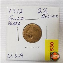 US 1912 Gold Coin Liberty 2-1/2 Dollars