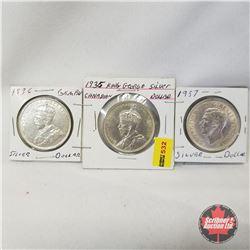 Canada One Dollar - Strip of 3: 1935; 1936; 1937