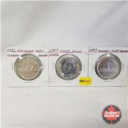 Canada One Dollar - Strip of 3: 1936; 1937; 1939