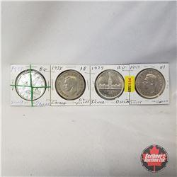 Canada One Dollar - Strip of 4: 1937; 1938; 1939; 1949