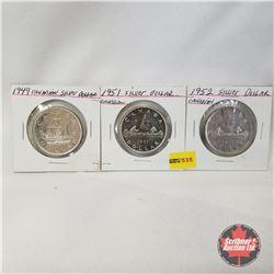 Canada One Dollar - Strip of 3: 1949; 1951; 1952