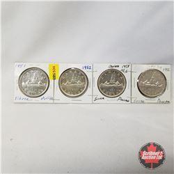 Canada One Dollar - Strip of 4: 1951; 1952; 1953; 1956