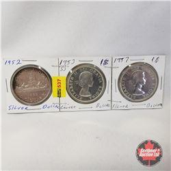 Canada One Dollar - Strip of 3: 1952; 1953; 1957