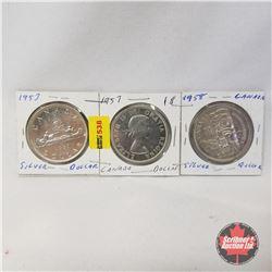 Canada One Dollar - Strip of 3: 1953; 1957; 1958
