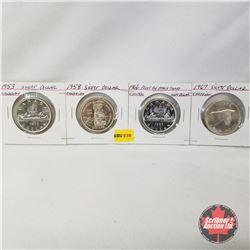Canada One Dollar - Strip of 4: 1953; 1958; 1966; 1967