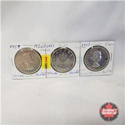 Canada One Dollar - Strip of 3: 1959; 1961; 1962