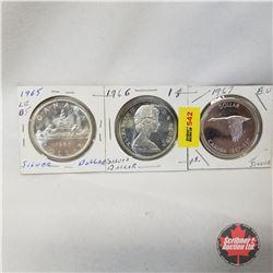 Canada One Dollar - Strip of 3: 1965; 1966; 1967