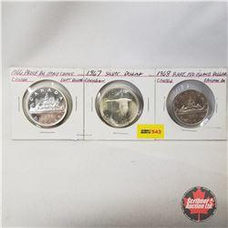 Canada One Dollar - Strip of 3: 1966; 1967; 1968