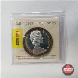 Canada One Dollar 1967 Cameo (Certified ICCS : SP-65)