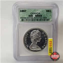 Canada One Dollar 1967 Diving Goose - Rotated Dies (ICG Certified : MS65)