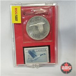 Canada One Dollar 1967 & Canada 7 Cent Stamp Set