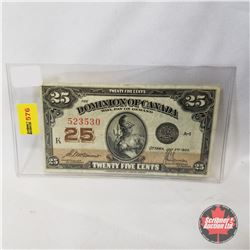 "Dominion of Canada 1923 Twenty Five Cent ""Shinplaster"" K Series"