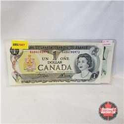 Canada $1 Bills 1973 Sequential (2) (Crow/Bouey BAB4190972/973)