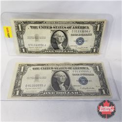 US $1 Bills (2) 1935G Sequential : D51333555J/556J