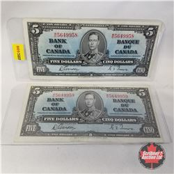 Canada $5 Bills (2) 1937 Sequential : WC5649958/959
