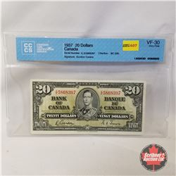Canada $20 Bill 1937 Gordon/Towers EE5868397 (CCCS Certified : VF-30)