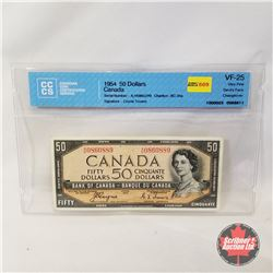 Canada $50 Bill 1954DF Coyne/Towers AH0860889 (CCCS Certified : Devil's Face Changeover VF-25)