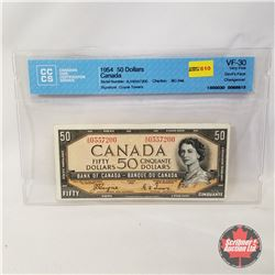 Canada $50 Bill 1954DF Coyne/Towers AH0557200 (CCCS Certified : Devil's Face Changeover VF-30)