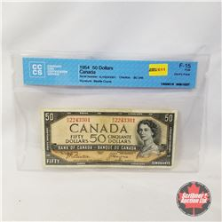 Canada $50 Bill 1954DF Beattie/Coyne AH2243301 (CCCS Certified : Devil's Face F-15)