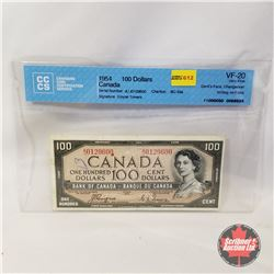 Canada $100 Bill 1954DF Coyne/Towers AJ0129600 (CCCS Certified : Devil's Face Changeover (Writing on