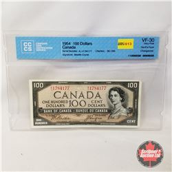 Canada $100 Bill 1954DF Beattie/Coyne AJ1784177 (CCCS Certified : Devil's Face Changeover VF-30)