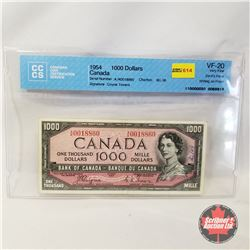 Canada $1000 Bill 1954DF Coyne/Towers AK0018860 (CCCS Certified : Devil's Face (Writing on Front) VF