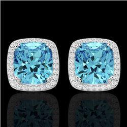 6.50 CTW Sky Blue Topaz & Micro VS/SI Diamond Halo Earrings 18K White Gold - REF-75F6N - 22812