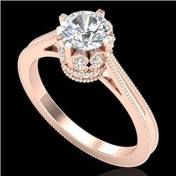 1.14 CTW VS/SI Diamond Solitaire Art Deco Ring 18K Rose Gold - REF-220Y5K - 36828