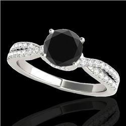 1.3 CTW Certified VS Black Diamond Solitaire Ring 10K White Gold - REF-68Y2K - 35278