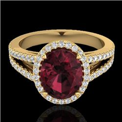 3 CTW Garnet & Micro VS/SI Diamond Halo Solitaire Ring 18K Yellow Gold - REF-67X3T - 20942